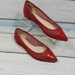 Nine west Womens Red pointed Toe Flats Slip On 6.5